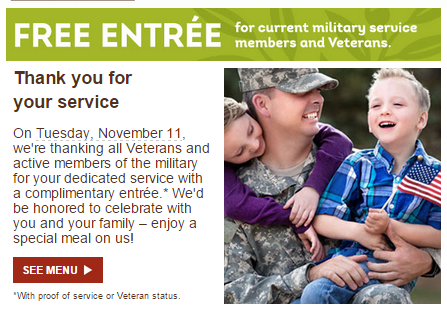 Olive Garden, free meal at olive garden for active military and veterans, free stuff, veterans, military freebies