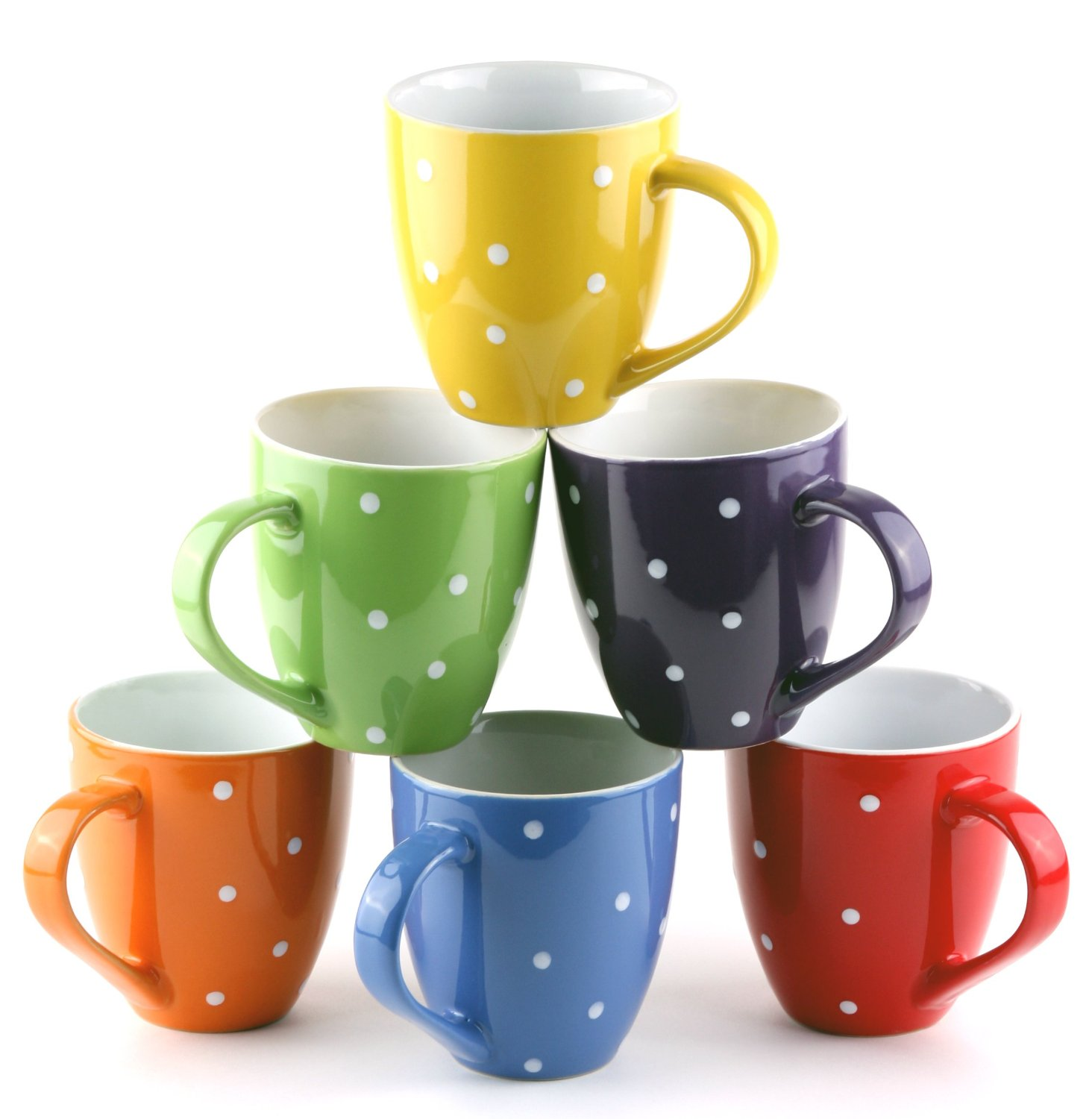 Set of 6 Large-sized 16 Ounce Ceramic Coffee Mugs Only $14 ...