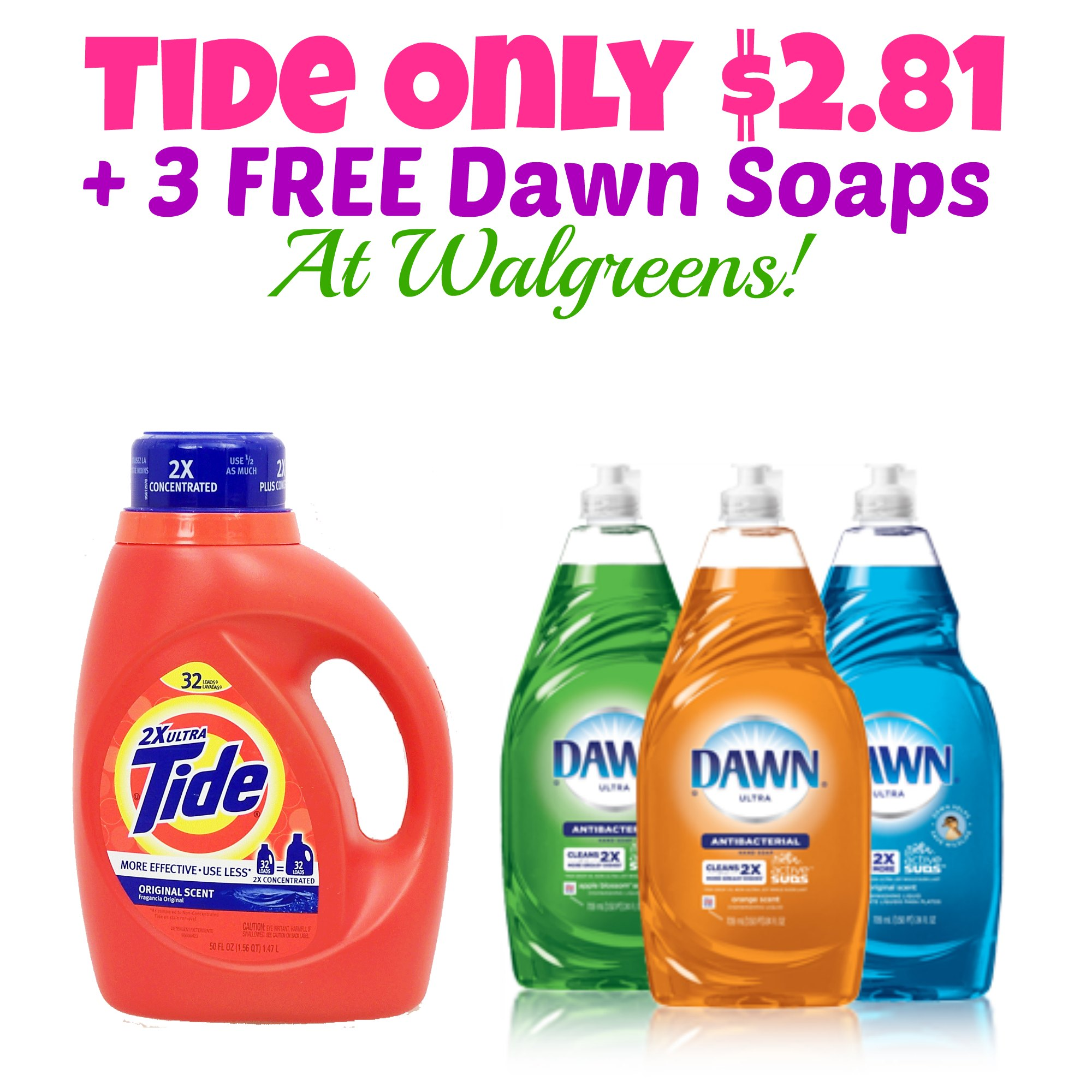 Hot Tide Detergent Only 2 81 3 Free Dawn Dish Soaps At