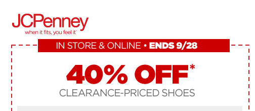JCPenney, jcpenney 40% off shoes, clearance shoes, jcpenney coupons