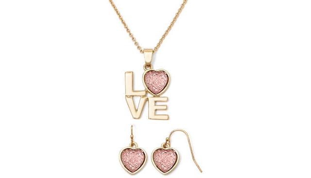 love pendant necklace, love pendant necklace and earrings, jcpenney love pendant necklace and earrings, liz claiborne love pendant necklace and earrings, valentines gift ideas, jcpenney coupon codes