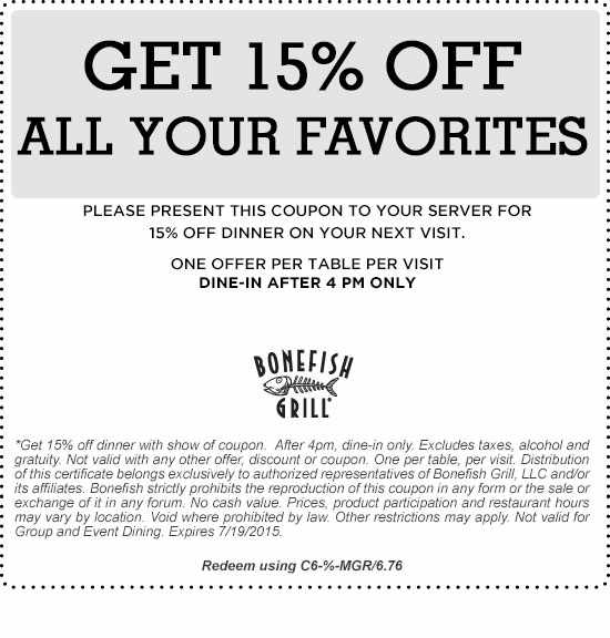 photo relating to Bonefish Grill Printable Coupon named Bonefish Grill Coupon- 15% Off!