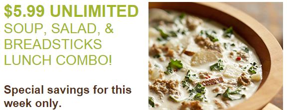 olive garden unlimited soup salad and breadsticks only 599 limited time - Olive Garden Unlimited Soup And Salad