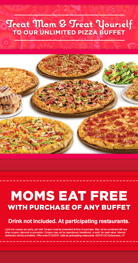 moms eat free at cicis pizza today