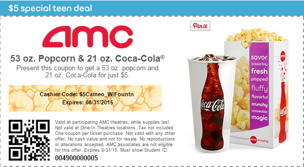 photograph relating to Coke Printable Coupons named AMC Video Theatre Coupon: Coke and Popcorn Merely $5