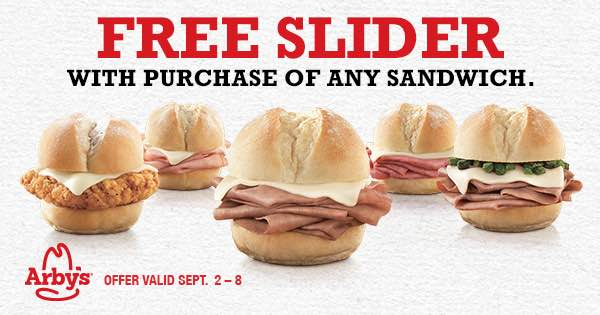 graphic about Arby's Printable Coupons named Cost-free Slider At Arbys All through 9/8!