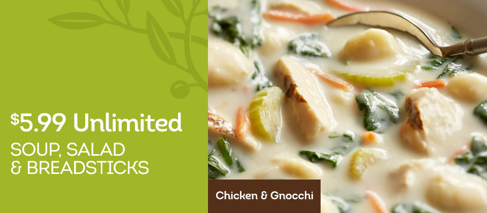 Olive garden unlimited soup salad and breadsticks for Soup salad and breadsticks olive garden