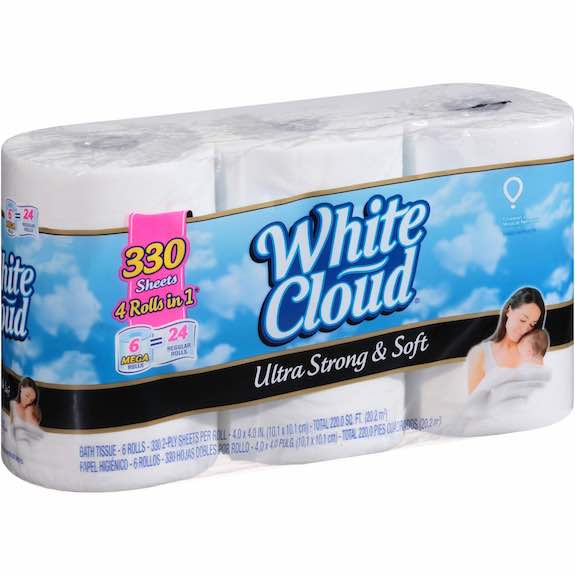 white cloud bathroom tissue walmart white cloud bath tissue only 0 18 a roll 21511 | White Cloud Ultra Soft Strong Bathroom Tissue 6 Mega Rolls Printable Coupon