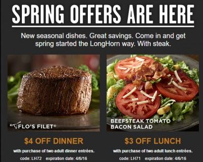photograph regarding Longhorns Printable Coupons identified as 2 Refreshing Longhorn Steakhouse Printable Discount coupons!