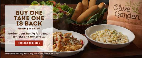 Buy One Take One Is Back At Olive Garden Prices Starting At