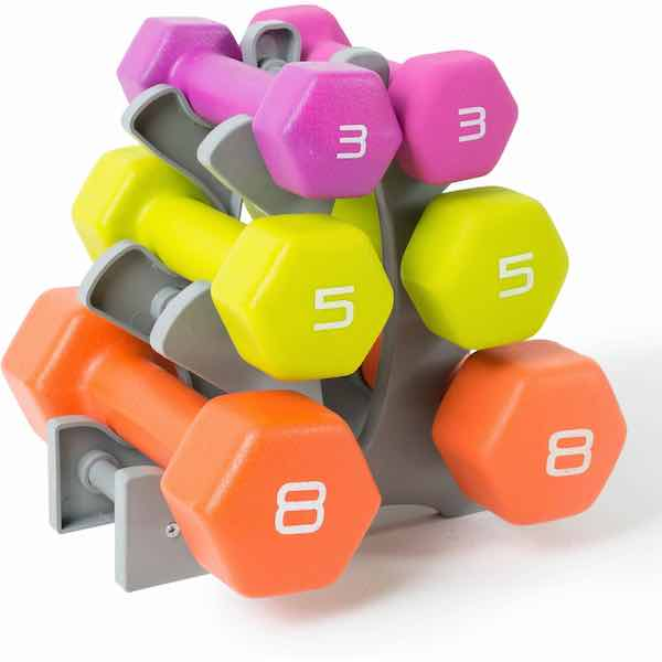 Fitness Neoprene Dumbbell Set with Rack
