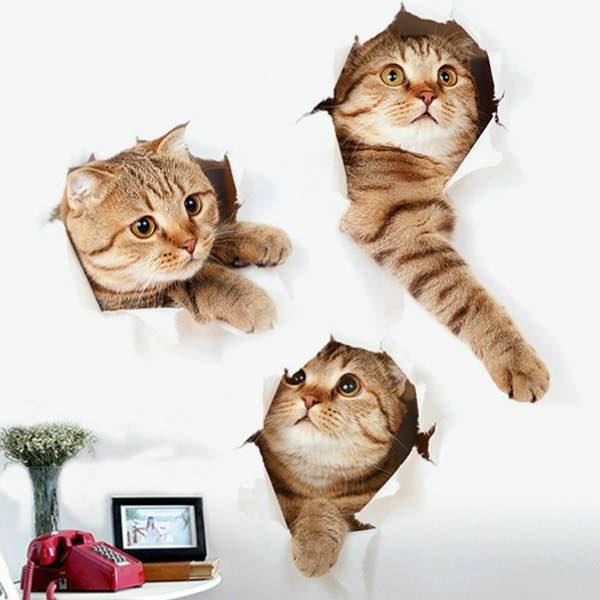 3d cat animal print home decor wall stickers just 2 51