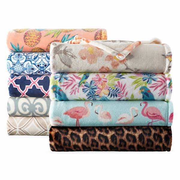 JCPenney Home Velvet Plush Print Throws