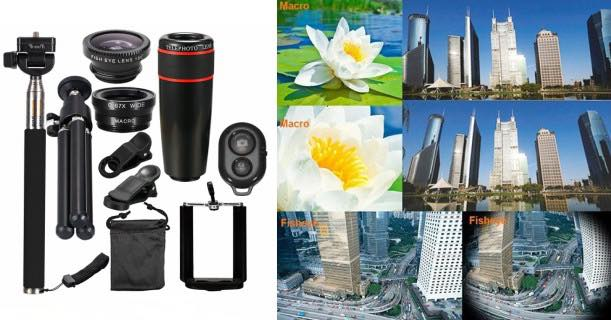 10 piece 8x telephoto mobile phone lens kit just shipped. Black Bedroom Furniture Sets. Home Design Ideas