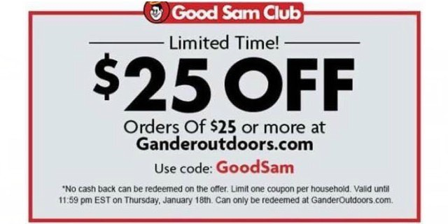 image regarding Printable Gander Mountain Coupons identified as Scorching!!! $25 Off $25 Or Excess At Gander Exterior!