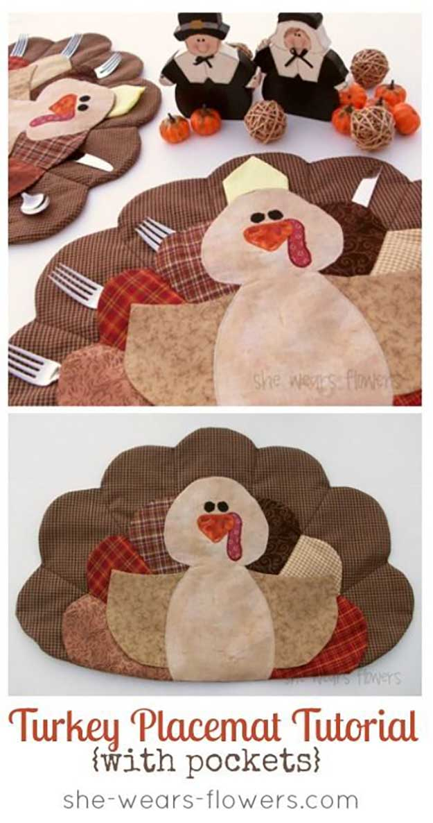 Turkey Placemats With Pockets