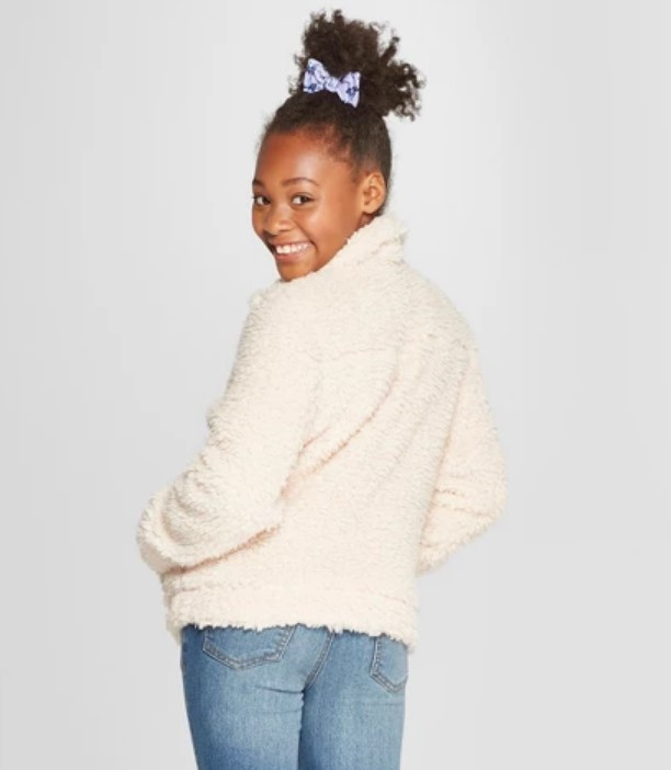 Side Zip Sherpa Jacket Cream At Discount