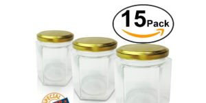 Hexagon Glass Jars with Gold Lid