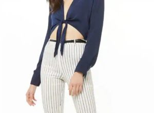 Striped Skinny Ankle Pants