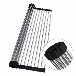 Roll-up Dish Drying Rack Stainless Steel Fold-able Over Sink
