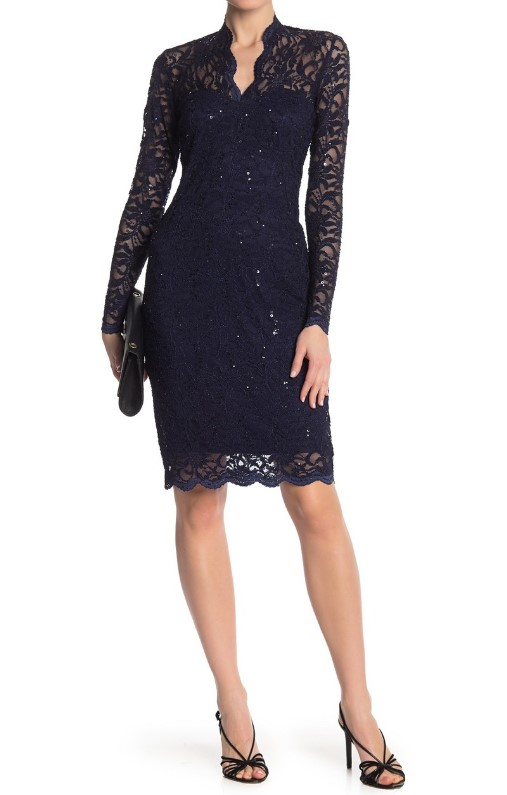 Scalloped Sequined Lace Dress