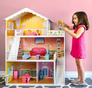3 Story Wooden Dollhouse Playhouse Set At Sale