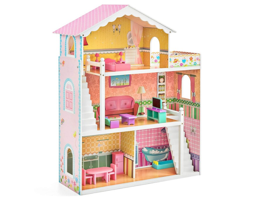 3 Story Wooden Dollhouse Playhouse Set