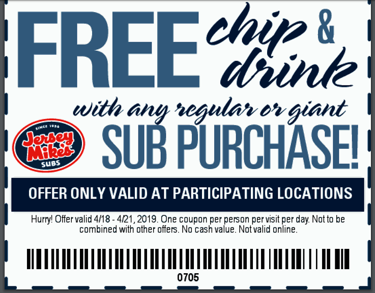 photograph about Jersey Mike's Printable Coupon named Jersey Mikes Subs Cost-free Chips Consume W Get