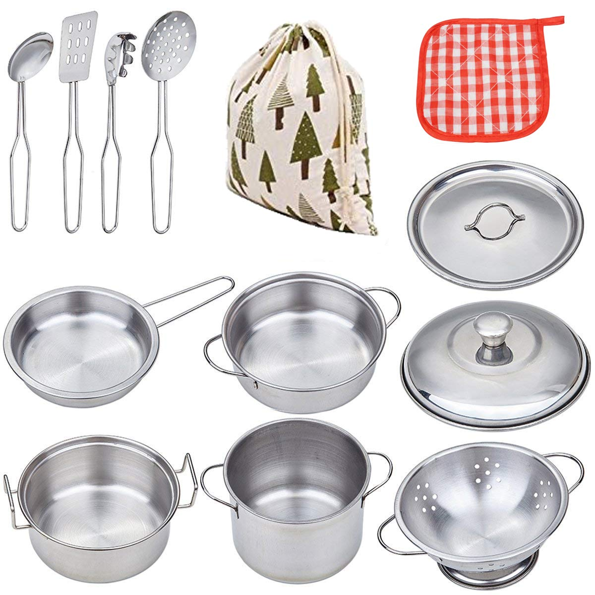 VIPAMZ My First Play Kitchen Pretend Cooking Toy Cookware Playset for Kids Steel