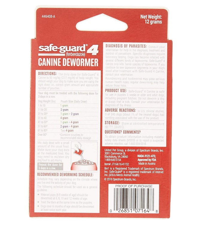 8in1 Safe Guard Canine Dewormer For Dogs At Sale