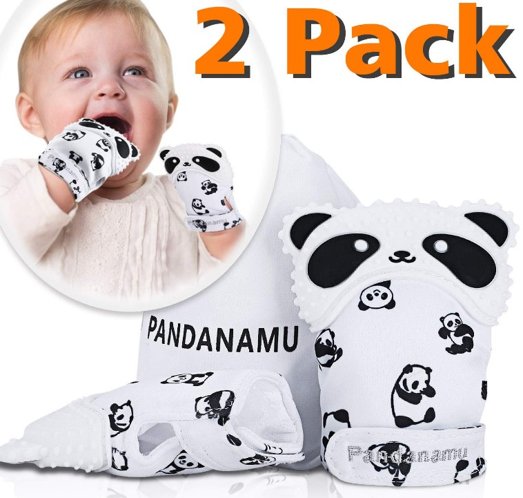 BPA Free Panda Teething Mitts with Travel Bag