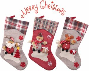 Restaurant Hotel Decorations and Party Supplies YAMUDA Christmas Stocking Stuffed Christmas Tree Hanging Toys Xmas-01 Candy Gift Bag Holders for Kids 3Pcs Classic Socks for Xmas Home Decor