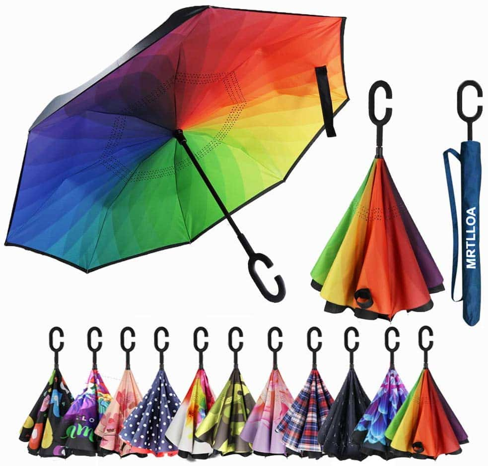 Anti-Uv Waterproof Mrtlloa Double Layer Inverted Umbrella With C-Shaped Handle