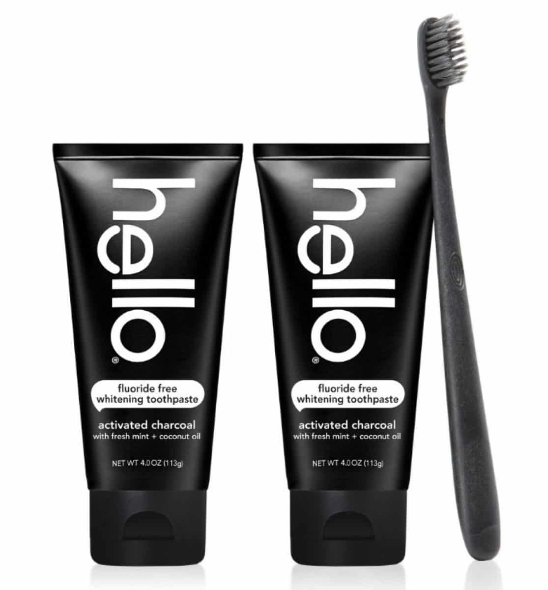 2 Pc Hello Activated Charcoal Teeth Whitening Toothpaste Pack