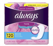120 Count Always Thin Daily Liners $5.49 (REG $16.99)