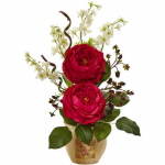 Nearly Natural Large Rose and Dancing Daisy in Wooden Pot -$27.53(34% Off)