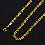 18k Real Gold Plated Rope Chain 2.5mm 5mm Stainless Steel $5.04 (REG $8.98)