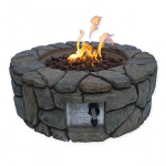 Round Propane Fire Pit in Dark Grey Faux Stone 50% off after you apply extra 20% code just $241 (REG $500)