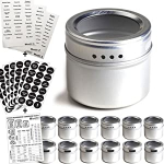 12 Magnetic Spice Tins & 2 Types of Spice Labels, Authentic by Talented Kitchen $19.95 (REG $39.95)