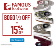 New! BOGO 50% Off At Famous Footwear + Extra 15% Off!