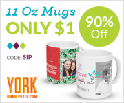 $1.00 Custom Photo Mug For New Customers From York Photo! Normally $9.99!