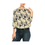 Modern Floral Print Cropped-Design Top – Extended Sizes $22.99 (REG $49.99)