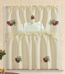 Comfy Deal 3 Pieces Embroidery Kitchen/Cafe Curtain Tier and Swag Set $12.99 (REG $37.99)