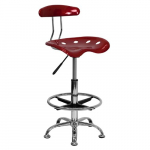 Vibrant Wine Red and Chrome Drafting Stool with Tractor Seat $54.86 (REG $140.00)