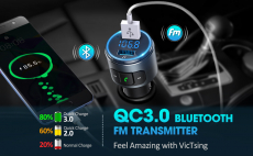 LIGHTNING DEAL!!! VicTsing (Upgraded Version) V5.0 Bluetooth FM Transmitter $12.99 (REG $18.99)