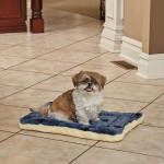Paw Print Pet Bed in Blue & White Synthetic Fur for Dogs & Cats $10.99 (REG $18.99)