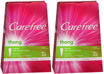Carefree Thong Pantiliner Unscented 49 Liners per Box, 2 Pack $5.94 (REG $9.50)