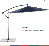 LIGHTNING DEAL!!!Le Conte Offset Umbrella 10ft Cantilever Patio Hanging Umbrella $108.80 (REG $139.00)
