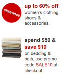 Target: Up to 60% off Women's Clearance Sale + $10 off Bedding & Bath Coupon