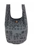 Hippie Elephant Sling Crossbody Bag Shoulder bag Thai :GRAY COLOR $8.90 (REG $15.00)